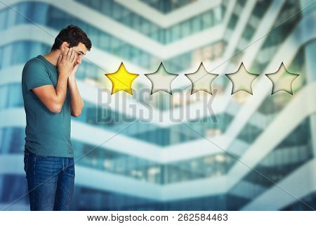 Side View Of A Disappointed And Stressed Young Man Hands On Cheeks Looking Down Choosing One Star Ra