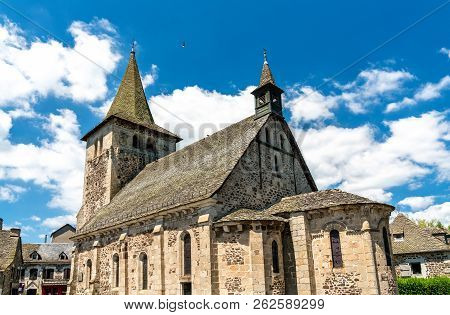 Church In Riom-es-montagnes Village, The Cantal Department Of France
