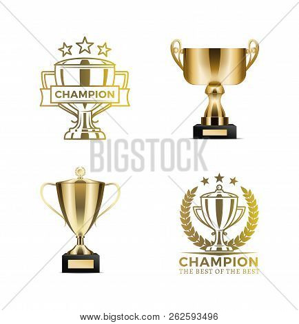 Champion Awards In Form Of Gold Cups And Certificates. Shiny Goblets With Seals As Win Approval. Tro