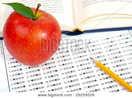 Test Score Sheet With Apple And Books