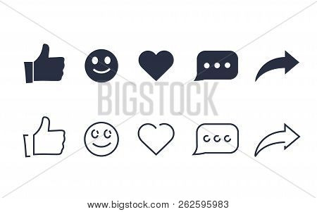 Thumbs Up And With Repost And Comment Icons On A White Background. Social Media Icon, Empathetic Emo