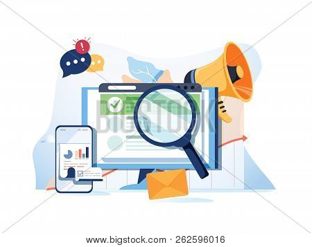 Search Result Optimization Seo Marketing Analytics Flat Vector Banner With Icons. Seo Performance, T