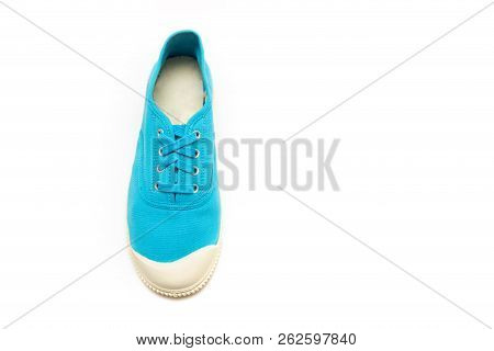 bright blue sneakers on a white background, gumshoes poster
