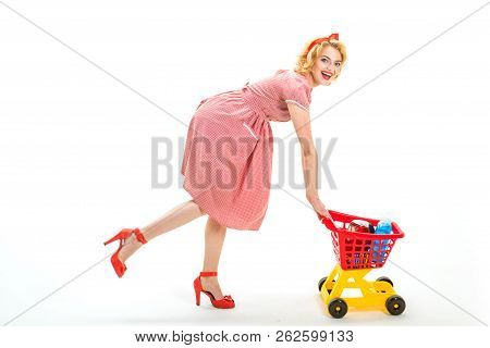 Going For Shopping. Happy Retro Woman Go Shopping. Full Shopping. I Have Done It. Vintage Woman Havi