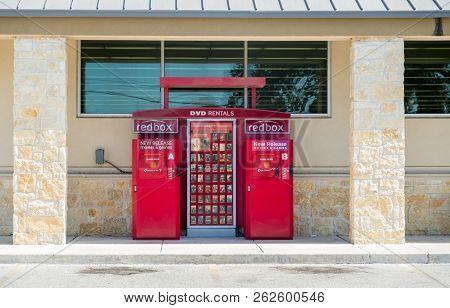 San Antonio, Texas - July 21, 2018 - Redbox Dvd And Video Games Rental Machine Outside Walgreens Sto