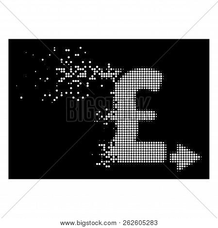 Pound Payouts Icon With Dispersed Style On Black Background. White Particles Are Combined Into Vecto