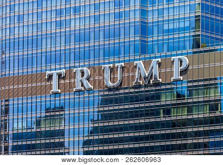 Chicago, Illinois - July 10. 2018 - Close Up Of The The Trump International Hotel And Tower Located