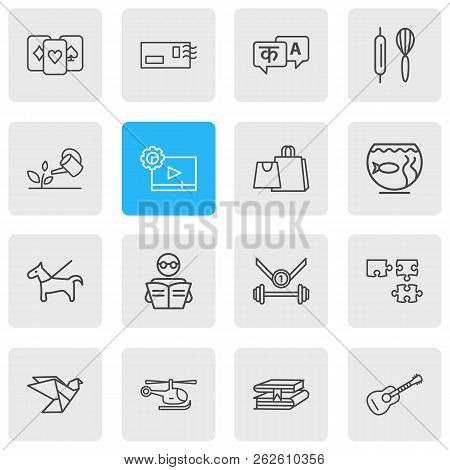 Vector Illustration Of 16 Lifestyle Icons Line Style. Editable Set Of Playing Cards, Reading, Postcr