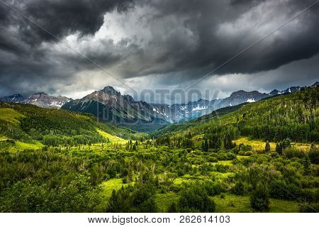 Panoramic Views Of Mt. Sneffels And The Dallas Creek Drainage Area Near Ridgway Colorado