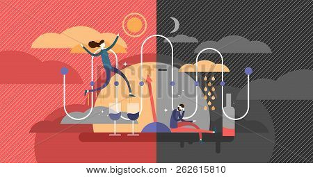 Bipolar Disorder Psychological State Diagnosis Concept, Flat Vector Illustration, Expressive Happine