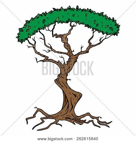 Tree With Foliage Icon. Vector Illustration Of A Tree With Green Foliage. Hand Drawn Tree.