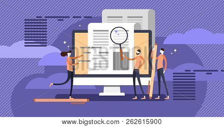 Press Release Copywriting Flat Concept Vector Illustration, Group Of People Making Research And Comp