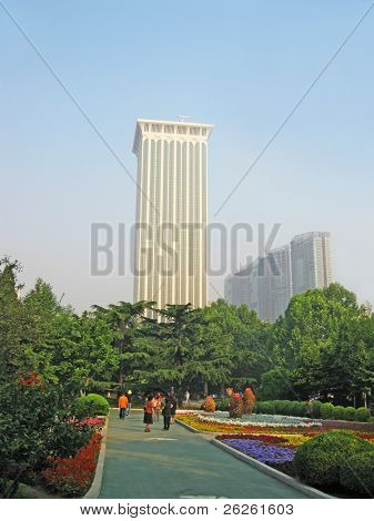 view of Dalian city China - skycrapper in the central park