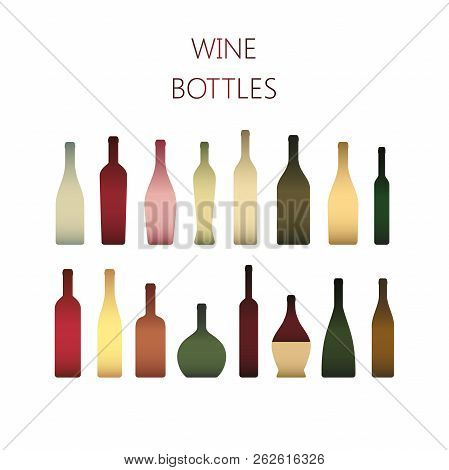 Gradient Colorful Wine Bottles Icons. Types Ot Wine Bottle Icons Set. Various Wine Bottles In Color.