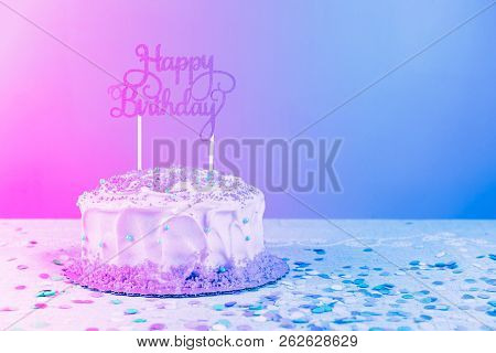 Birthday cake with golden topper. Birthday party celebration concept. Horizontal. Modern surreal pop art toning, creative reality concept poster