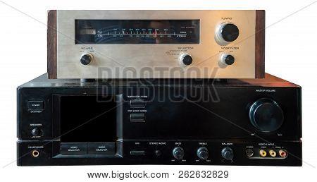 Hifi System Amplifier. Home Musical Equipment Closeup.