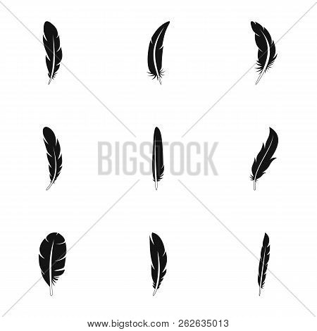 Ethnic Feather Icon Set. Simple Set Of 9 Ethnic Feather Vector Icons For Web Design On White Backgro