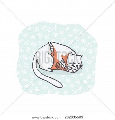 Sleeping Cat Christmas Card Clipart, Hand Drawn Embroidery Jumper