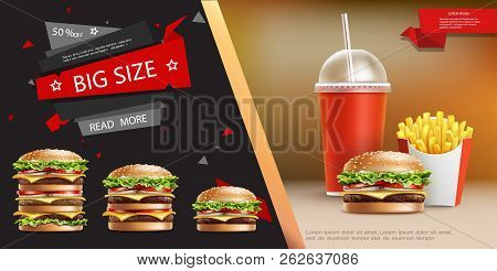 Realistic Fast Food Advertizing Template With Soda French Fries And Appetizing Burgers Of Different