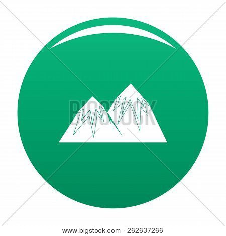Snow Peak Icon. Simple Illustration Of Snow Peak Vector Icon For Any Design Green