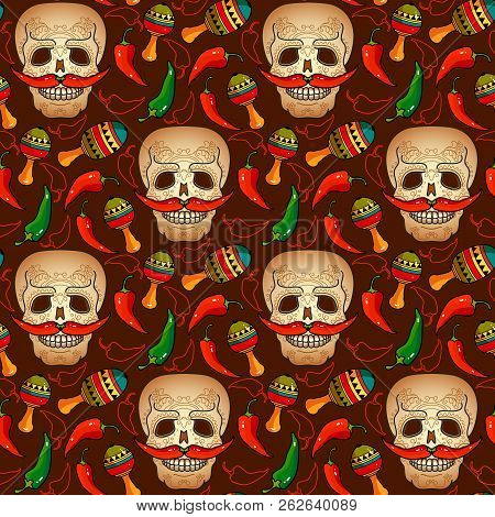 Day Of The Dead Seamless Pattern With Smiling Skull With Patterns And Mustache Of Red Peppers And Ma