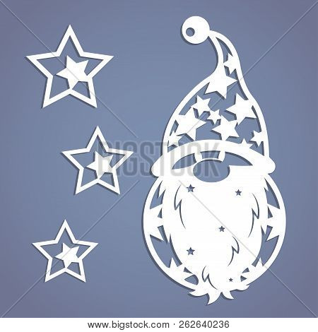 Christmas Gnome. Stencil. Template For Christmas Cards, Invitations For Christmas Party. Image Suita