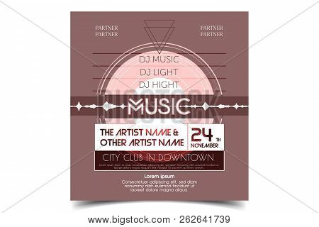 Retro Party Advertising Flyer With Old Audio Music Plate. Old-fashioned Poster Design. Vector Vintag