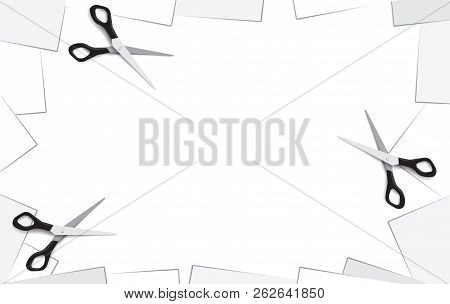 Empty Place Background With White Paper And Frame With Blank Note Paper Corners And Scissors. Place