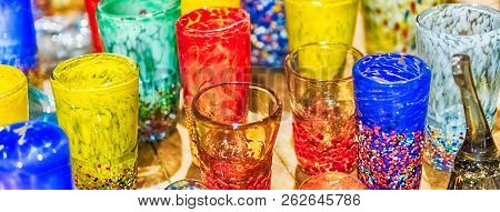 Traditional Colorful Murano Glass Goblets For Sale In Murano Island, Venice, Italy. The Island Is A