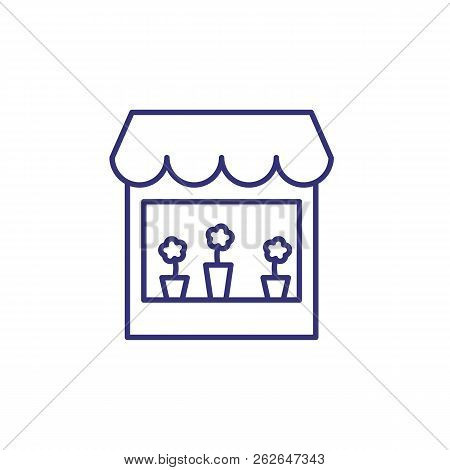 Flower Shop Line Icon. Store Front, Decoration, Window. Shop Concept. Vector Illustration Can Be Use