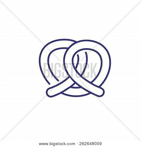 Pretzel Line Icon. Kringle, Twisted Knot, Food. Snack Concept. Vector Illustration Can Be Used For T