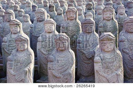 1000 arahan statues at  Gwaneumsa buddhist Temple at Jeju Island Korea
