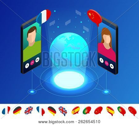 Isometric Online Voice Translator And Learning Languages Concept. Learning, Translate Languages Or A