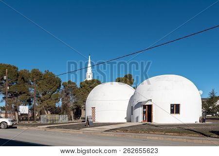 Sutherland, South Africa, August 8, 2018: A Street Scene, With The Planetarium, In Sutherland In The