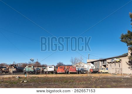 Sutherland, South Africa, August 8, 2018: Vintage Vehicles At A Workshop In Sutherland In The Northe