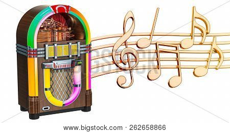 Musical Concept. Jukebox With Music Notes, 3d Rendering Isolated On White Background