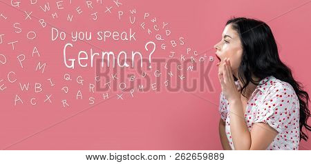 Do You Speak German Theme With Young Woman Speaking On A Pink Background