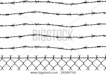 vector of wired fence with five barbed wires