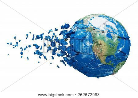Broken Shattered Planet Earth Globe Isolated On White Background. Blue And Green Realistic World Wit