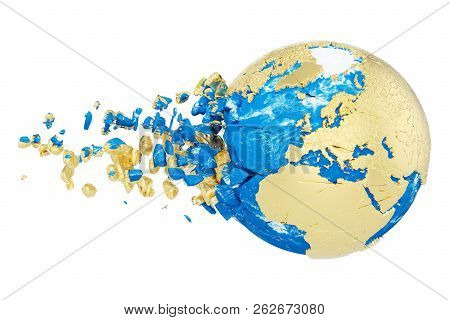 Broken Shattered Planet Earth Globe Isolated On White Background. Gold Metallic World With Particles