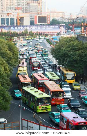 XI'AN, CHINA - JULY 7: View from the city center wall on the traffic jam on July 7, 2008 in Xi'an, Shaanxi, China