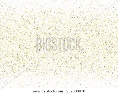 Gold Sparkles Glitter Dust Metallic Confetti Vector Background. Glossy Golden Sparkling Background.