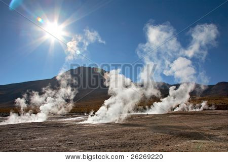 Geyser field El Tatio in back lighting, Atacama region, Chile poster