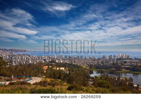 view on Vina del Mar and Valparaiso, Chile