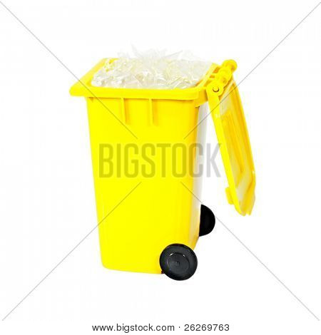 full yellow recycling bin with plastic