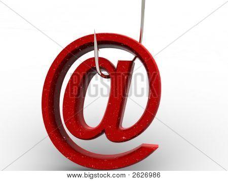 Symbol For Internet On Fishing Hook. 3D