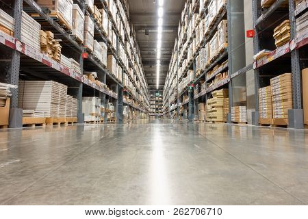 Storage Warehouse And Distribution Store, Product On Shelf.