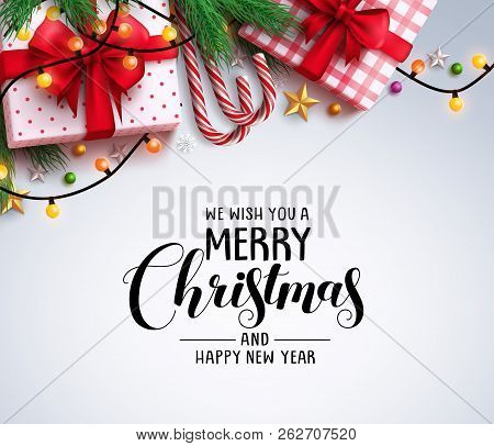 Christmas Greeting Vector Background With Text And Colorful Christmas Elements Like Gifts, Candy Can