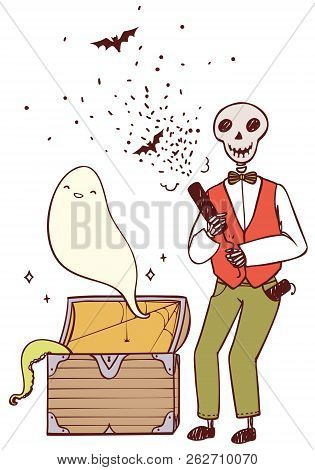 Skeleton With Party Poppers And A Ghost From The Chest