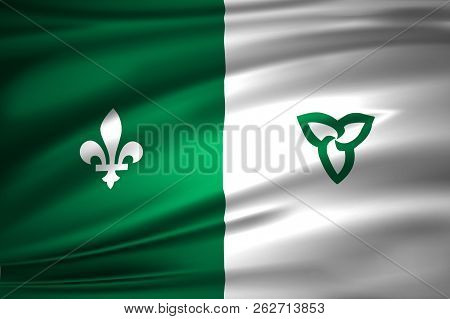 Franco-ontarian 3d Waving Flag Illustration. Texture Can Be Used As Background.